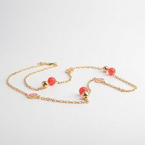 Tory Burch Lacquered Logo Red Long Necklace